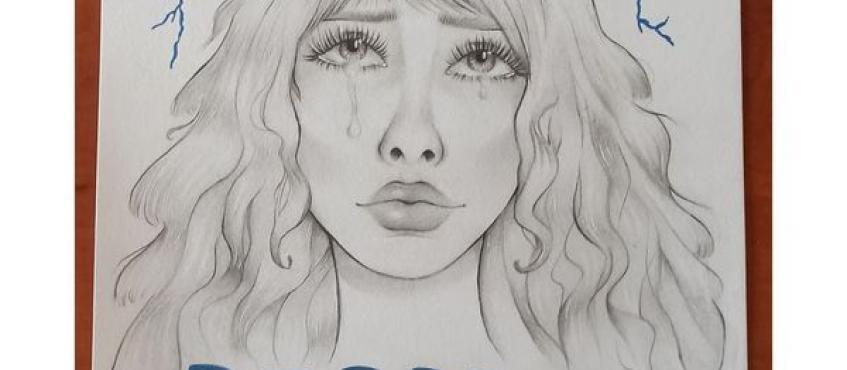 praca przedstawia płaczącą kobietę i napis depresja.