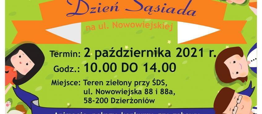 plakat zapraszający na festyn integracyjny Dzień Sąsiada